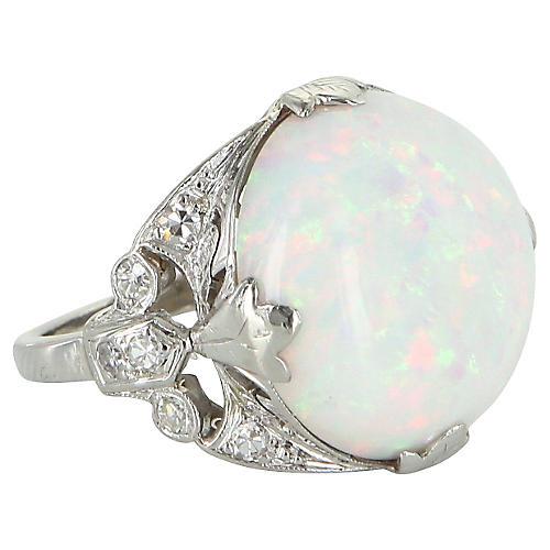 23K Natural Opal Diamond Platinum Ring