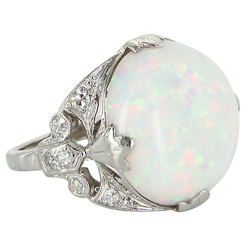 23K Natural Opal Diamond Platinum Ring