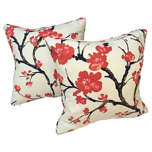 Flowering Branch Pillows, Pair