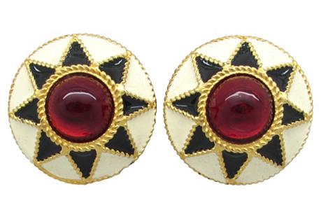 Yosca Enamel & Red Glass Earrings