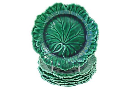 Wedgwood Majolica Leaf Plates, S/6
