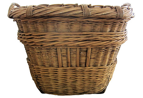 Antique French Willow Basket