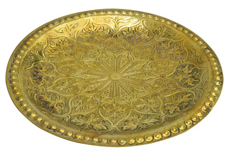Moroccan Hammered Brass Tray
