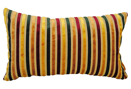 Scalamandré Silk Pillow w/ Velvet Stripe