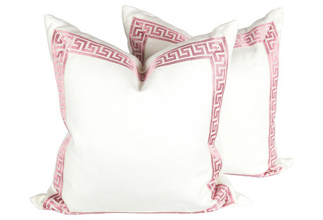 Ivory & Pink Linen Greek Key Pillows S/2