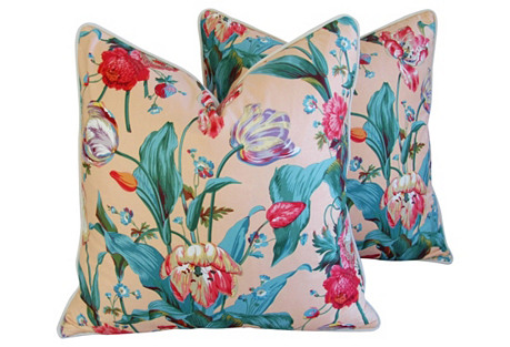 Brunschwig & Fils Tulip Pillows, Pair