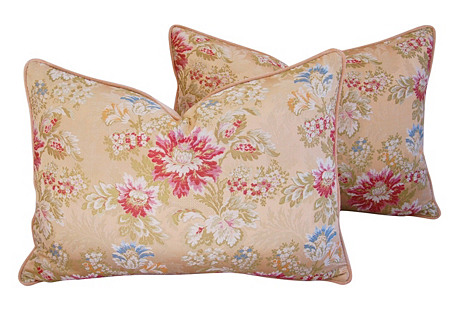 Scalamandré Floral Silk Pillows, Pr