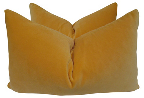 Belgian Marigold Velvet Pillows, Pair