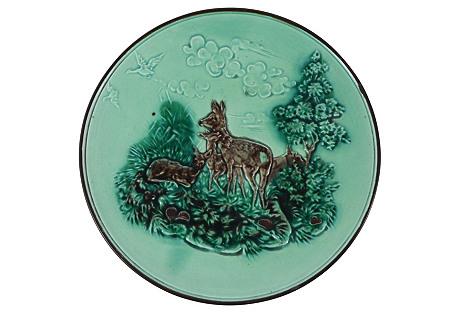 Majolica Deer Wall Plate, C.1900