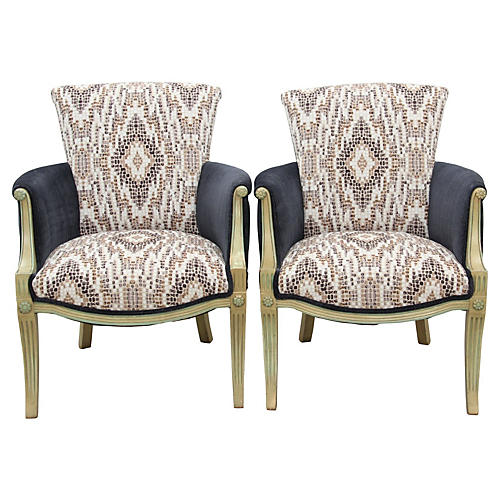 Neoclassical Club Chairs, Pair