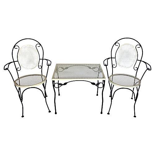 1940s Garden Furniture Set, S/3