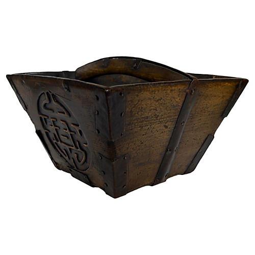 Antique Hand-Carved Grain Basket
