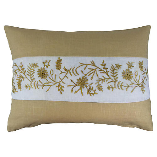Linen Pillow w/ English Embroidery