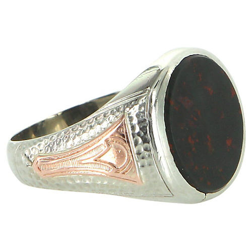Two-Tone Mens Signet Bloodstone Ring