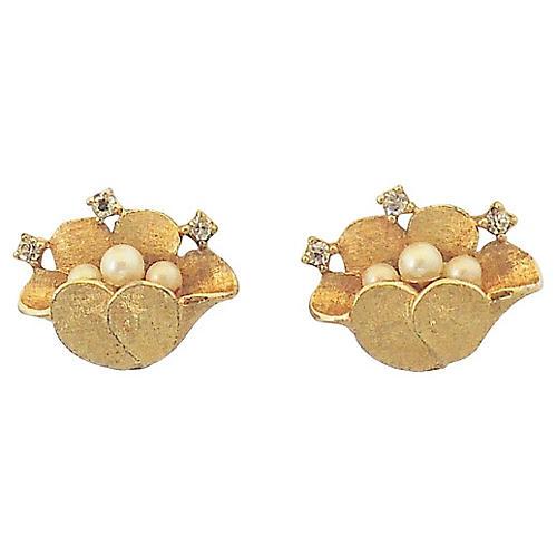 1960s Jomaz Faux-Pearl Flower Earrings