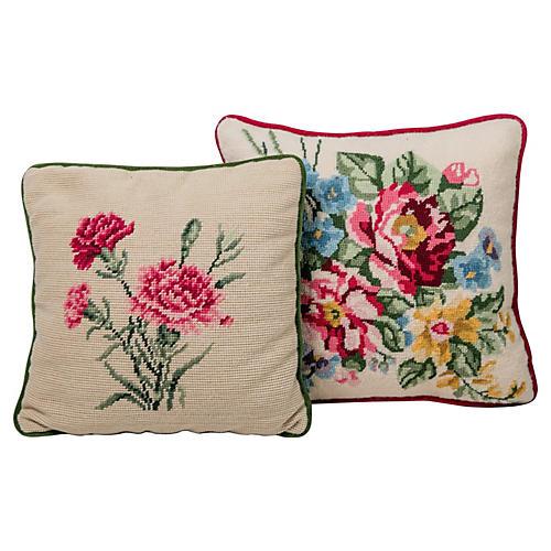 Floral Needlepoint Pillow, Green