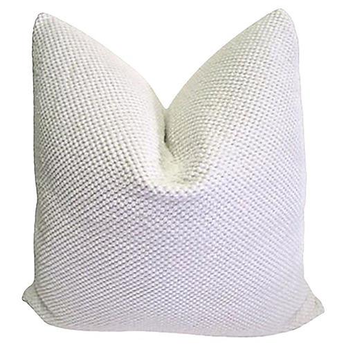 White Nubby Chenille & Linen Pillow