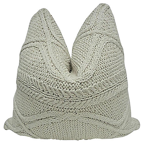 Natural Cable Knit & Linen Pillow