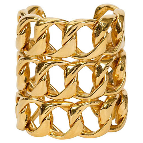 Chanel Gold Triple-Layer Link Cuff