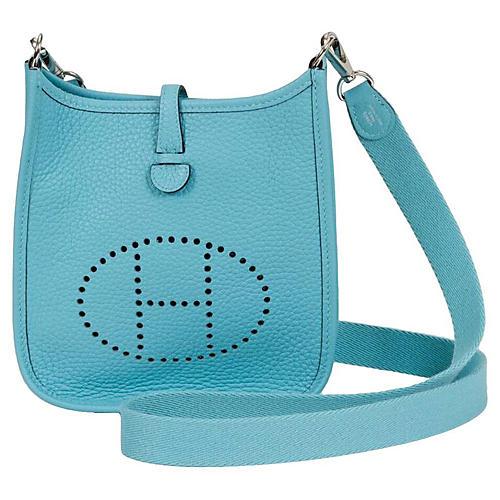 Hermès Mini Evelyne Blue Atolle
