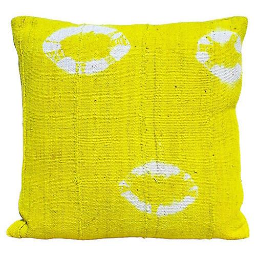 Bright Yellow Mud Cloth Pillow