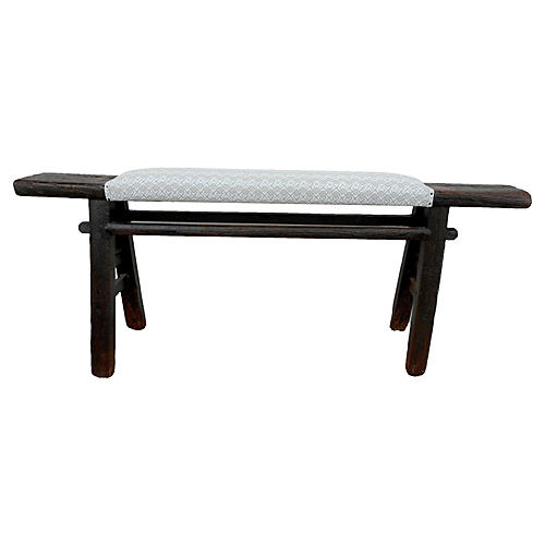 Bundi Shandong Bench, Jute/White