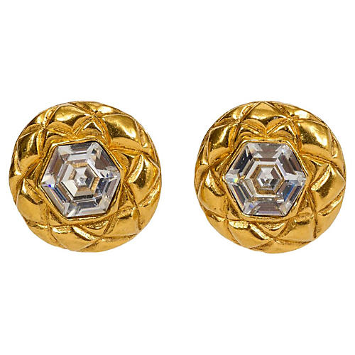 Chanel Crystal Quilted Earrings