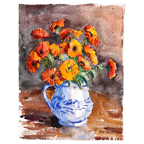 Gerbera Daisies in Orange, C. 1930