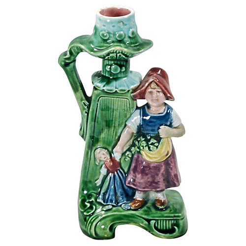 Majolica Dutch Child w/Doll Candleholder