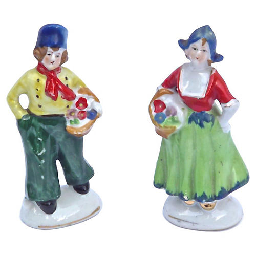 Porcelain Dutch Figurines, Pair