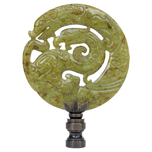 Coiled Dragon Stone Lamp Finial