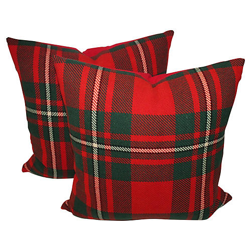 Plaid Pillows, Pair
