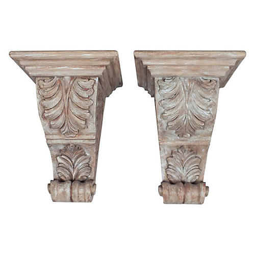Carved Wood Corbels, Pair