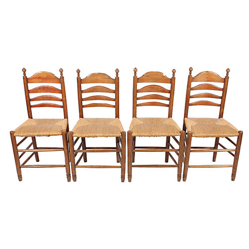 Rush Seat Dining Chairs, Set Of 4