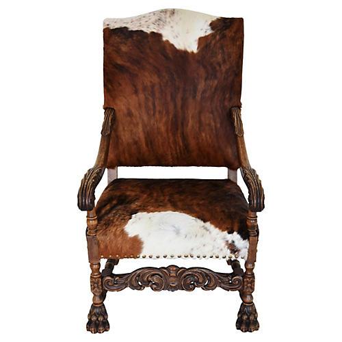 Antique Carved Oak & Cowhide Armchair
