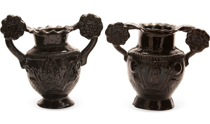 19th-C. Ceramic Floral Urns, Pair