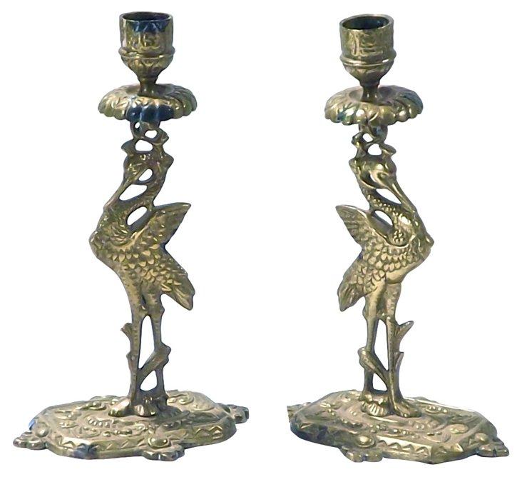 Art Deco Flamingo Candleholders, Pair