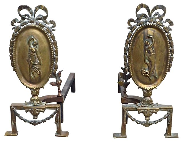 Figural Brass Andirons