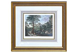 Antique French Mountain Scene Engraving