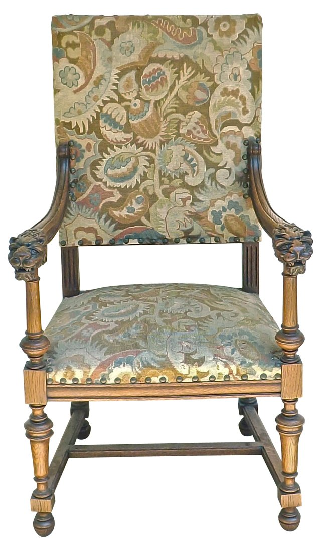19th-C. Armchair w/ Needlepoint