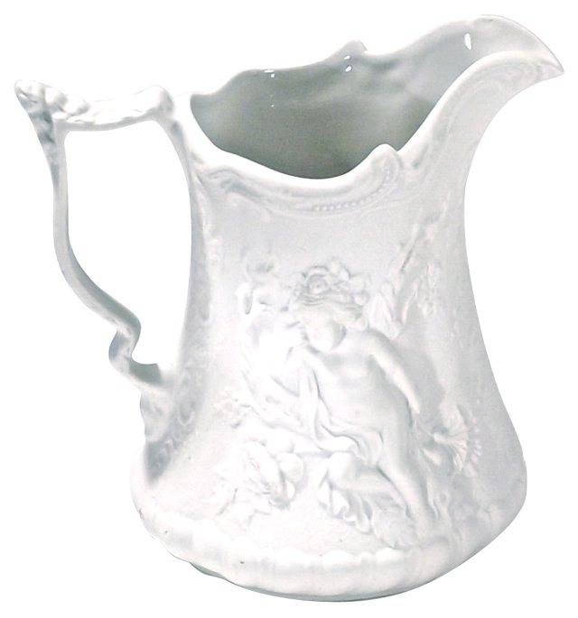 Bisque Porcelain Cherub Pitcher
