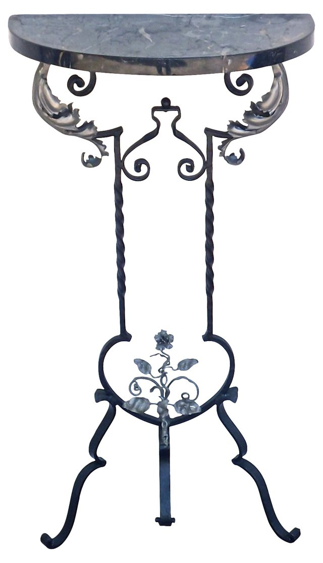 French Art Deco  Iron & Marble Console