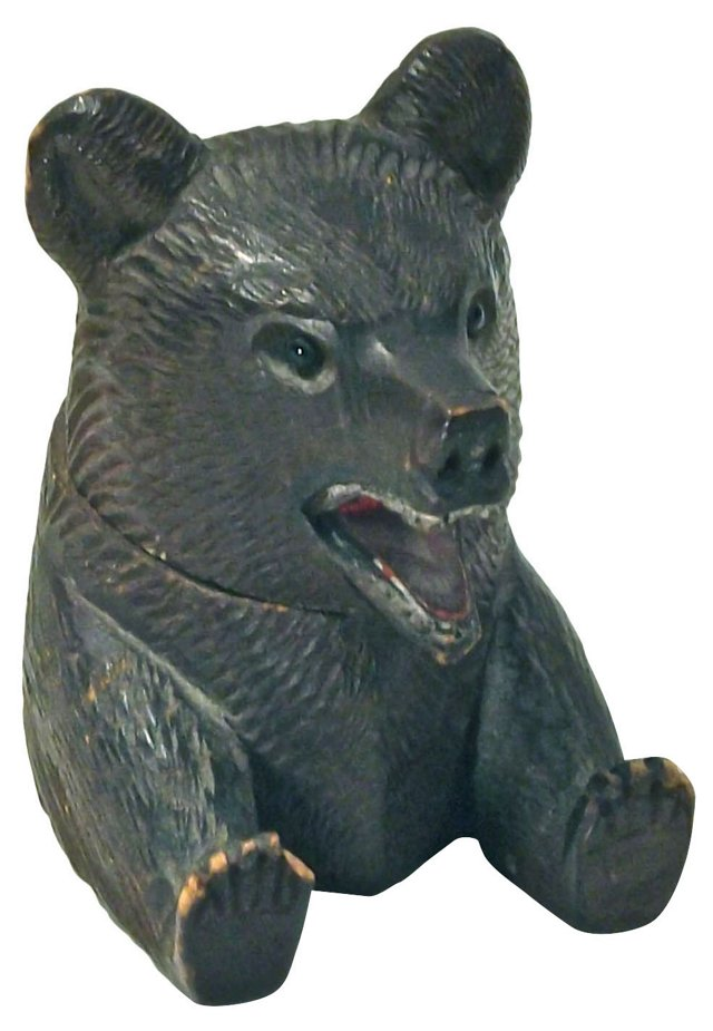 Antique Black Forest Bear Head Inkwell