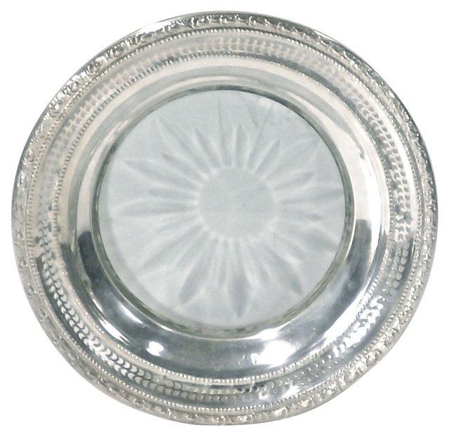 Silver & Etched Sunburst Dish