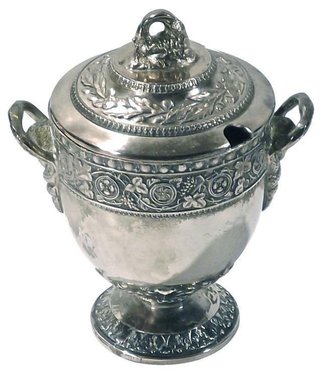 Antique Shield & Grape Silver Sugar Bowl