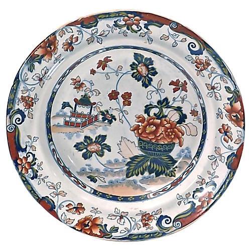 Antique Ironstone Floral Bowl