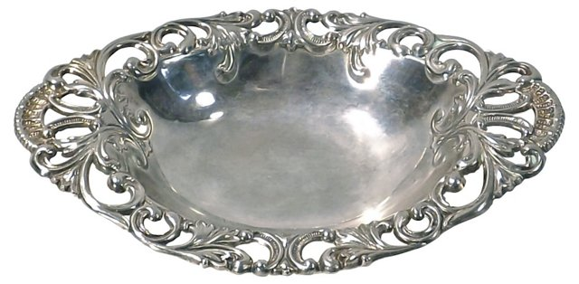 Antique Silverplate Filigree Dish