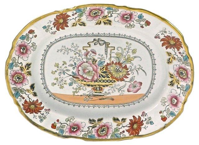 Antique Ironstone Floral Platter