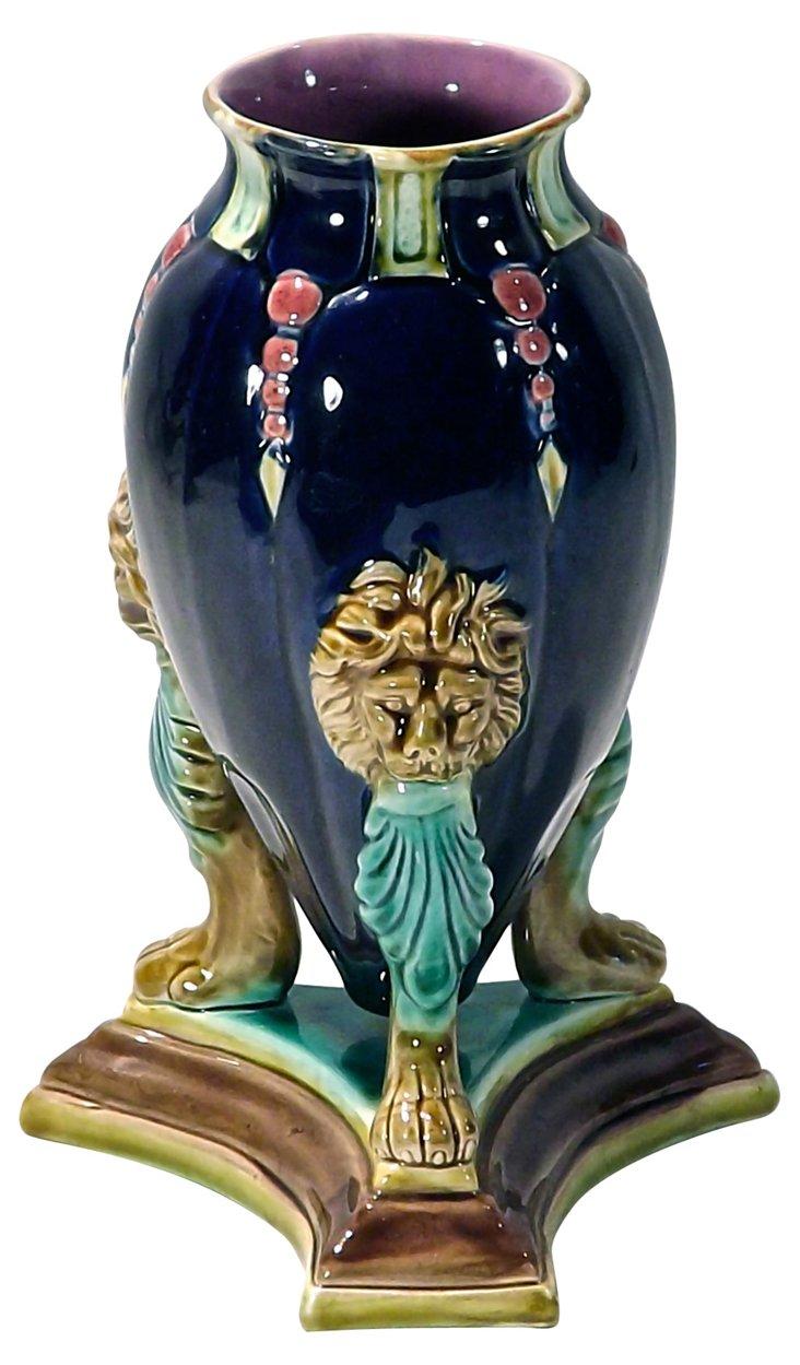 Majolica Holdcroft Lion's Head Vase