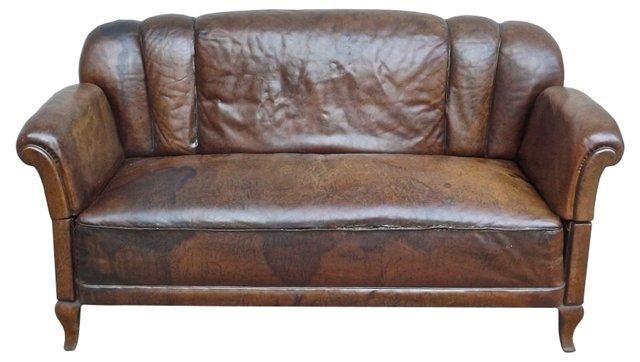 Club-Style Ratchet Leather Sofa